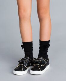 Leather sneakers with pearls Black Child HA88AE-0S