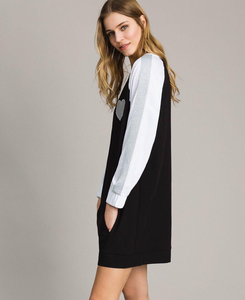 Robe bicolore en gabardine Bicolore Noir / Blanc Optique Femme 191LL25DD-02