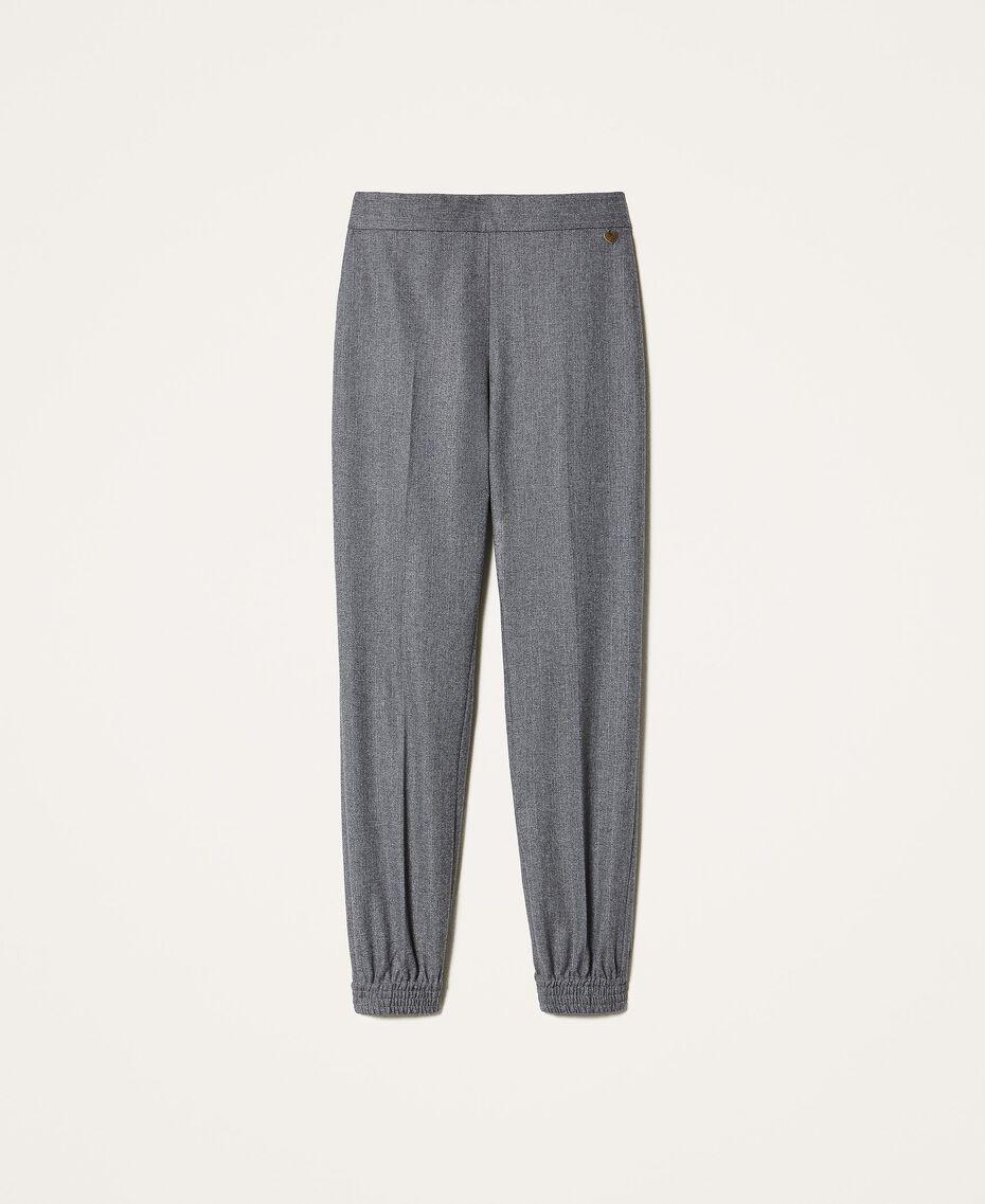 Pantalon de jogging en laine mélangée Rayé Gris Chiné / Argent «Lurex» Femme 202TT2173-0S