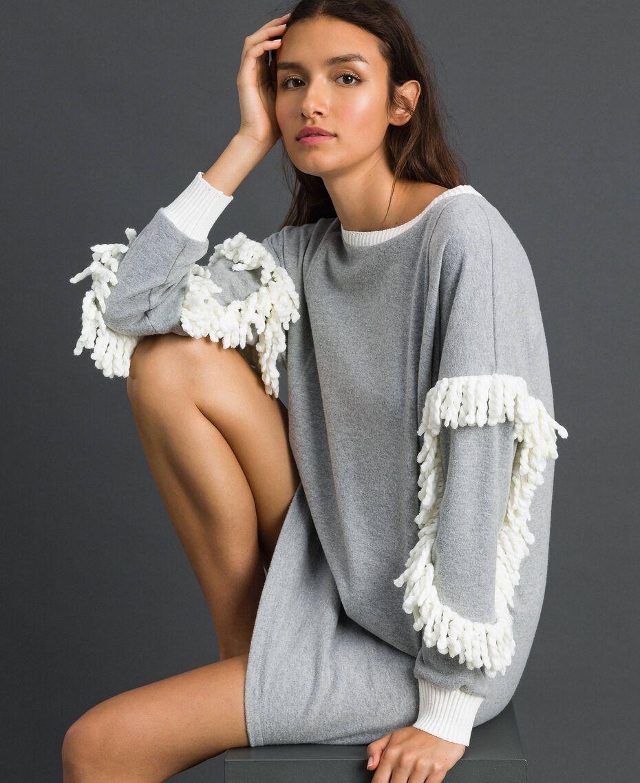 Chemise de nuit avec franges Gris Mélangé Femme 192LL2EEE-01