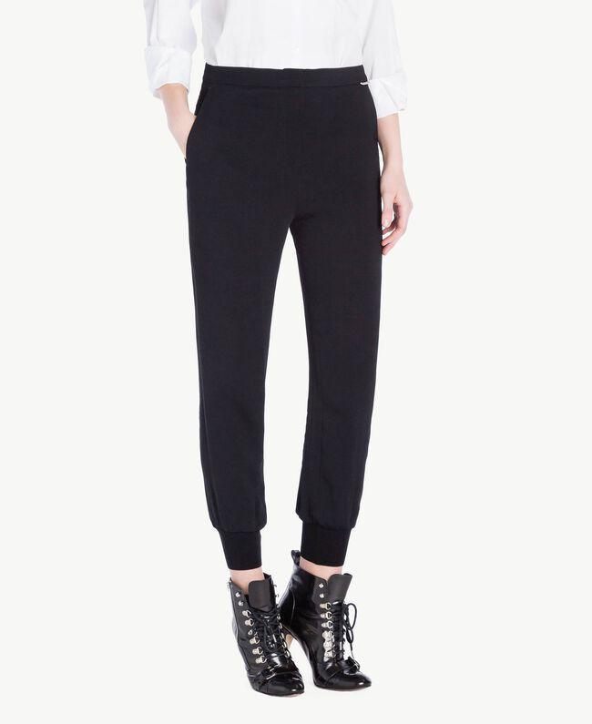 Pantalon georgette Noir Femme PS8258-01
