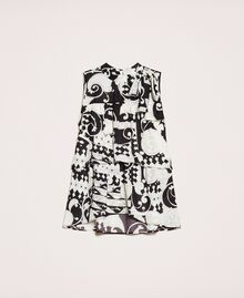 Printed georgette top with flounces White Liberty Print / Black Woman 201ST213F-0S