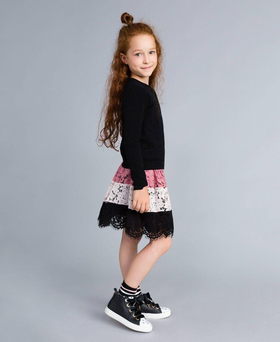 """Multi-coloured lace full skirt Multicolour """"Blush"""" Pink / Black / Roses Child GA82QB-0S"""