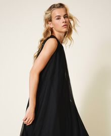 Tulle dress with satin belt Black Woman 202MP201C-05
