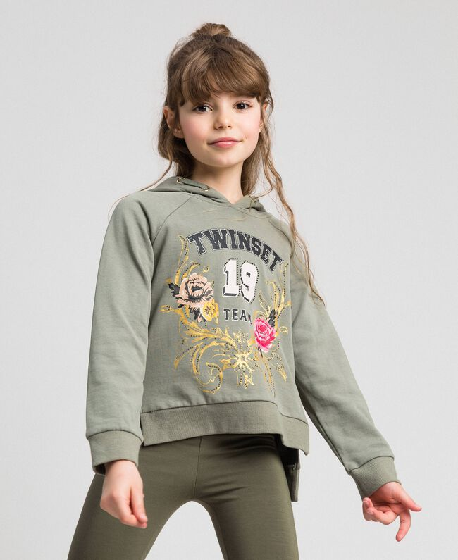 Bedrucktes Sweatshirt mit Logo Brokatprint Gold / Alpingrün Kind 192GJ2444-01