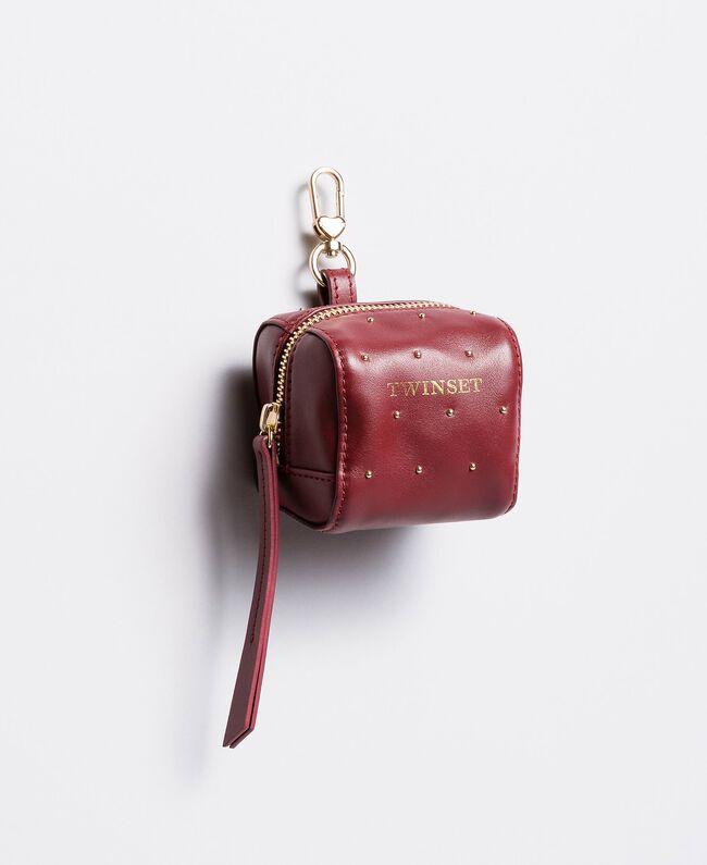 Porte-clés en cuir avec clous Bordeaux Femme AA8PA4-01