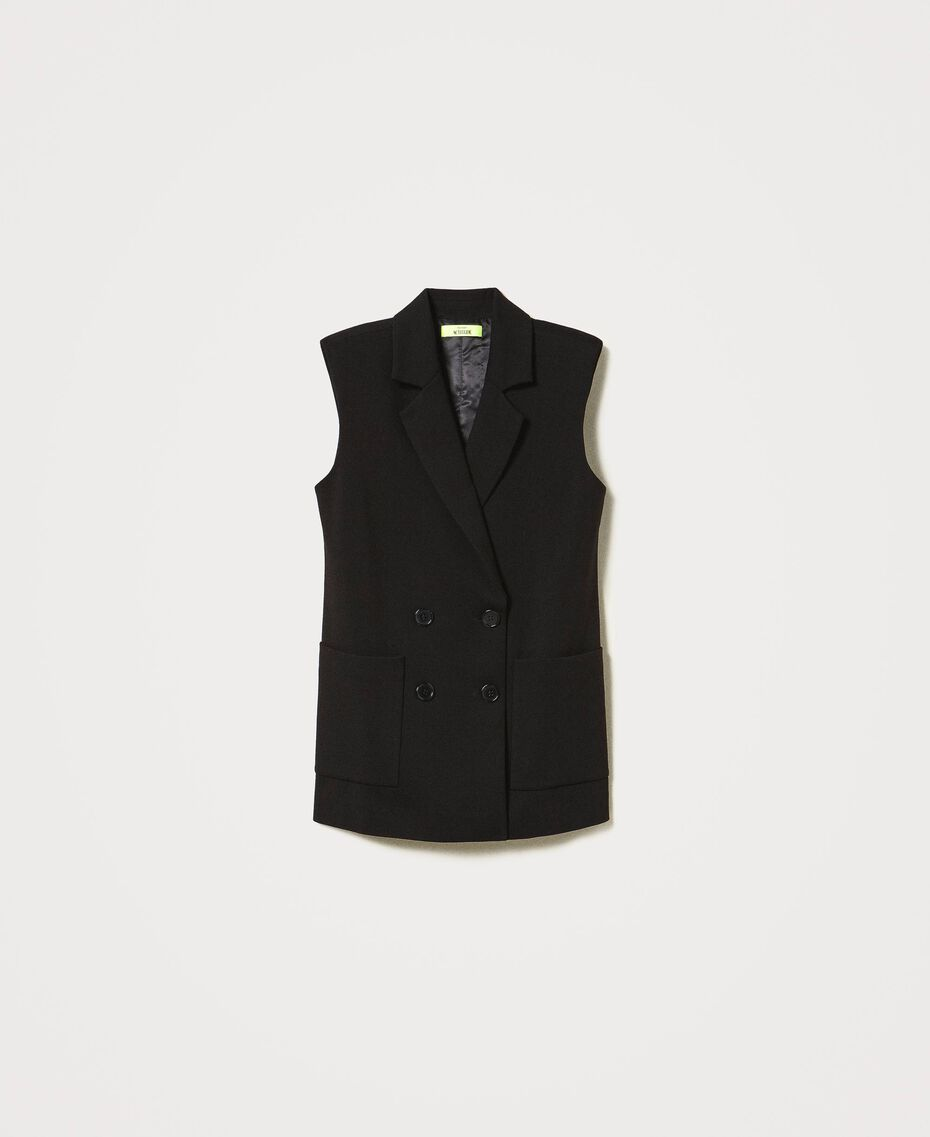 Oversize waistcoat with pockets Black Woman 211MT2360-0S