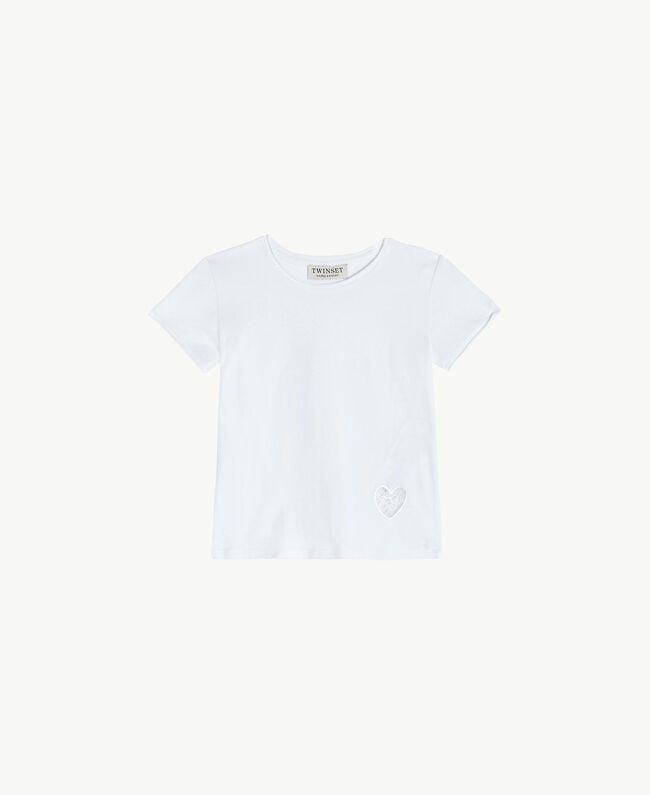 "Cotton T-shirt ""Papers"" White Child FS82BA-01"