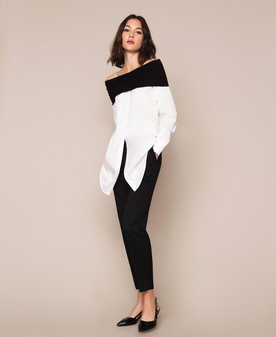 Soft collar poplin shirt Two-tone Lily / Black Woman 201MP218F-01