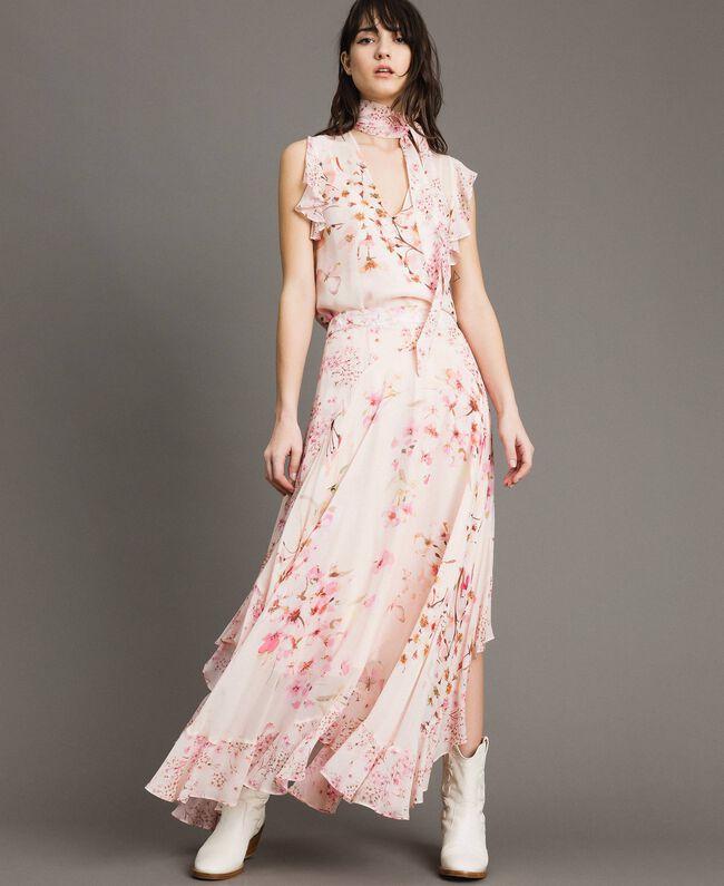 "Floral print georgette long skirt ""Blossom / Peach Mix"" Pink Print Woman 191TP2719-02"