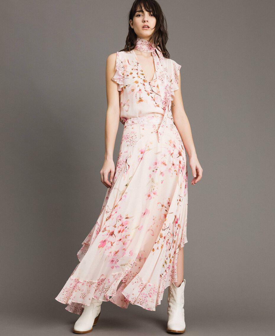 """Jupe longue en georgette à imprimé floral Imprimé Rose """"Bouton De Rose / Peach Mix"""" Femme 191TP2719-02"""