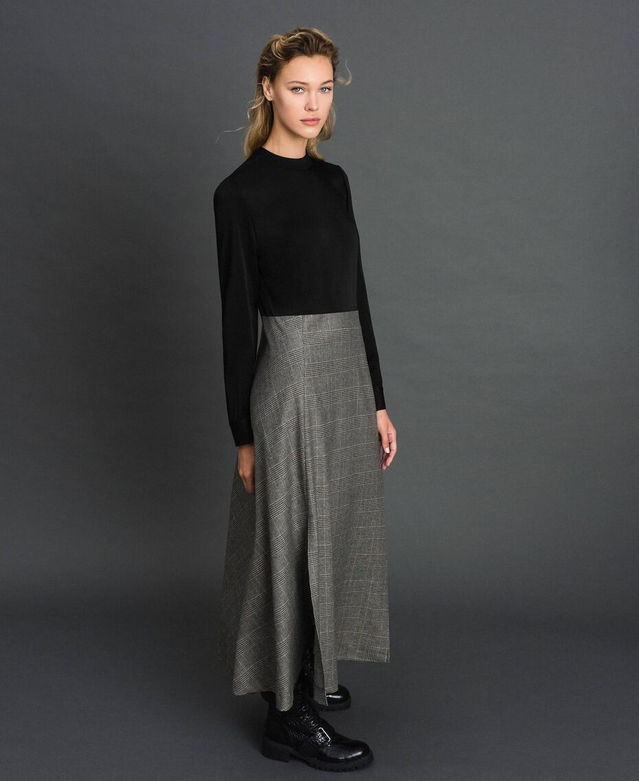 Cady and glen plaid dress Lurex Dark Grey Wales Design Woman 192TT2448-02