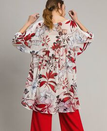 Floral print georgette tunic dress Exotic Ecru Print Woman 191ST2222-03