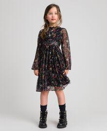 Tüllkleid aus Georgette mit Blumenprint Print Erdbeeren und Himbeeren Kind 192GJ2505-02