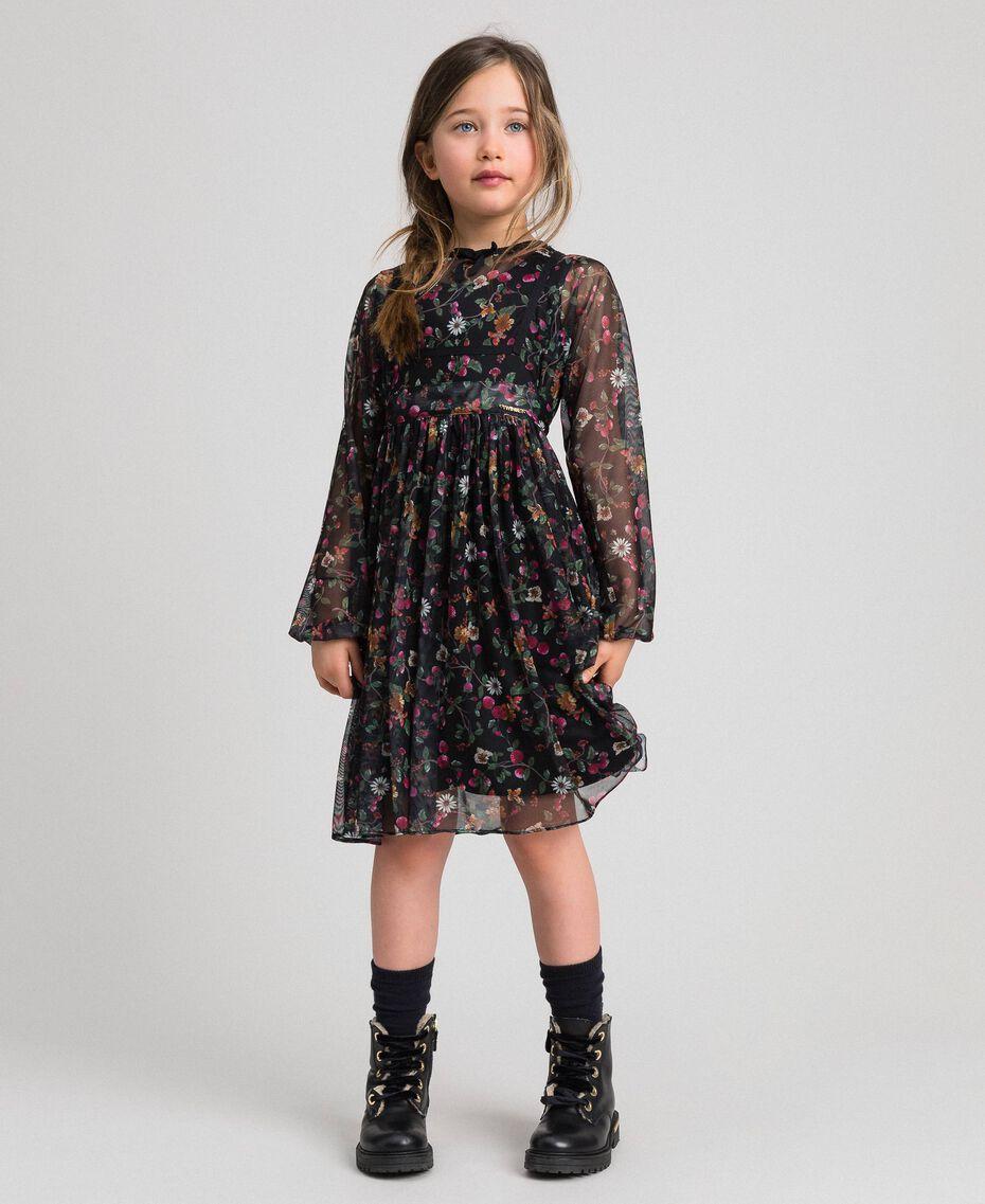 Robe en tulle avec imprimé floral Imprimé Fraises et Framboises Enfant 192GJ2505-02