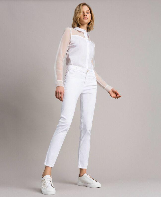 Organza und Popeline-Hemd Weiß Frau 191MT2301-0T