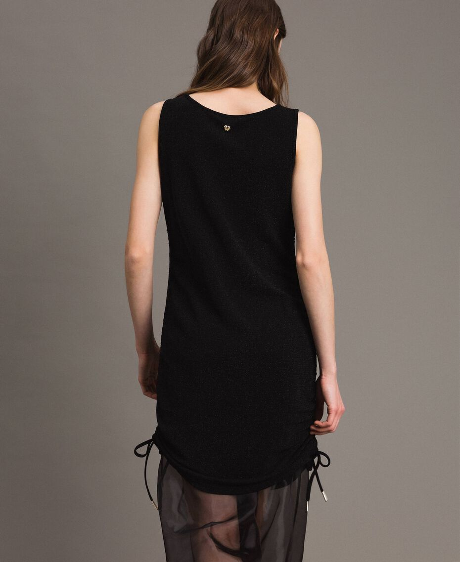 Lurex mini dress with drawstring Black Woman 191MP2023-03