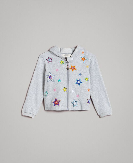 Stretch cotton sweatshirt with embroidered stars