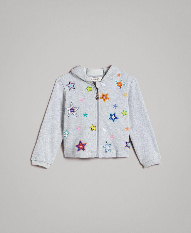 Stretch cotton sweatshirt with embroidered stars Light Gray Mélange Child 191GB2321-01