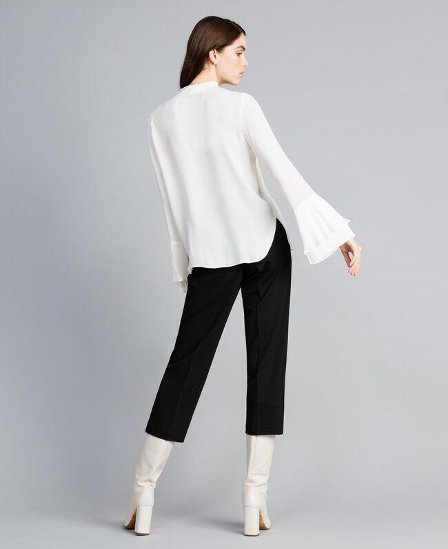 Blusa de seda mixta con plisados White Nieve Mujer TA823T-04