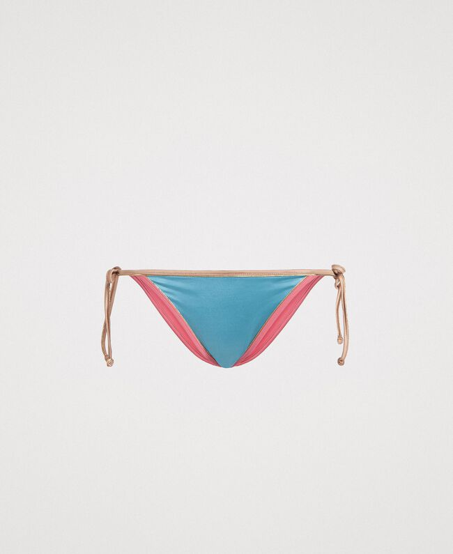"Brazilian bikini bottom with contrasting trims Multicolour Daylight Blue / ""Tender Rose"" Pink / ""Petra Sandstone"" Brown Woman 191LMMH88-01"