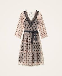 Tulle dress with lace and belt Nude Beige Polka Dot Print Woman 202ST2064-0S