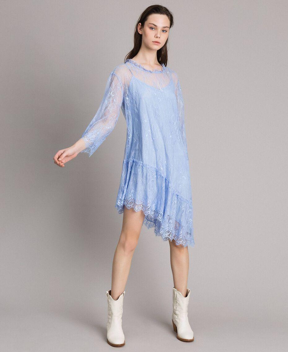 Asymmetrisches Chantilly-Kleid mit Spitze HellBlau Atmosphere Frau 191ST2120-02