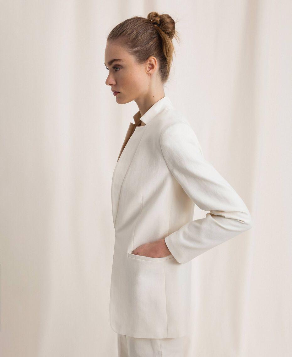 Blazer en lin mélangé Blanc Neige Femme 201TP2252-02