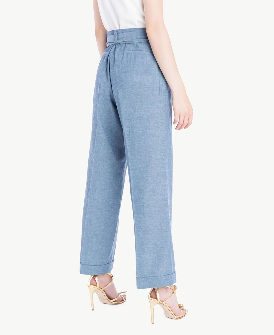 Cropped trousers Light Blue Denim Woman TS82YB-03