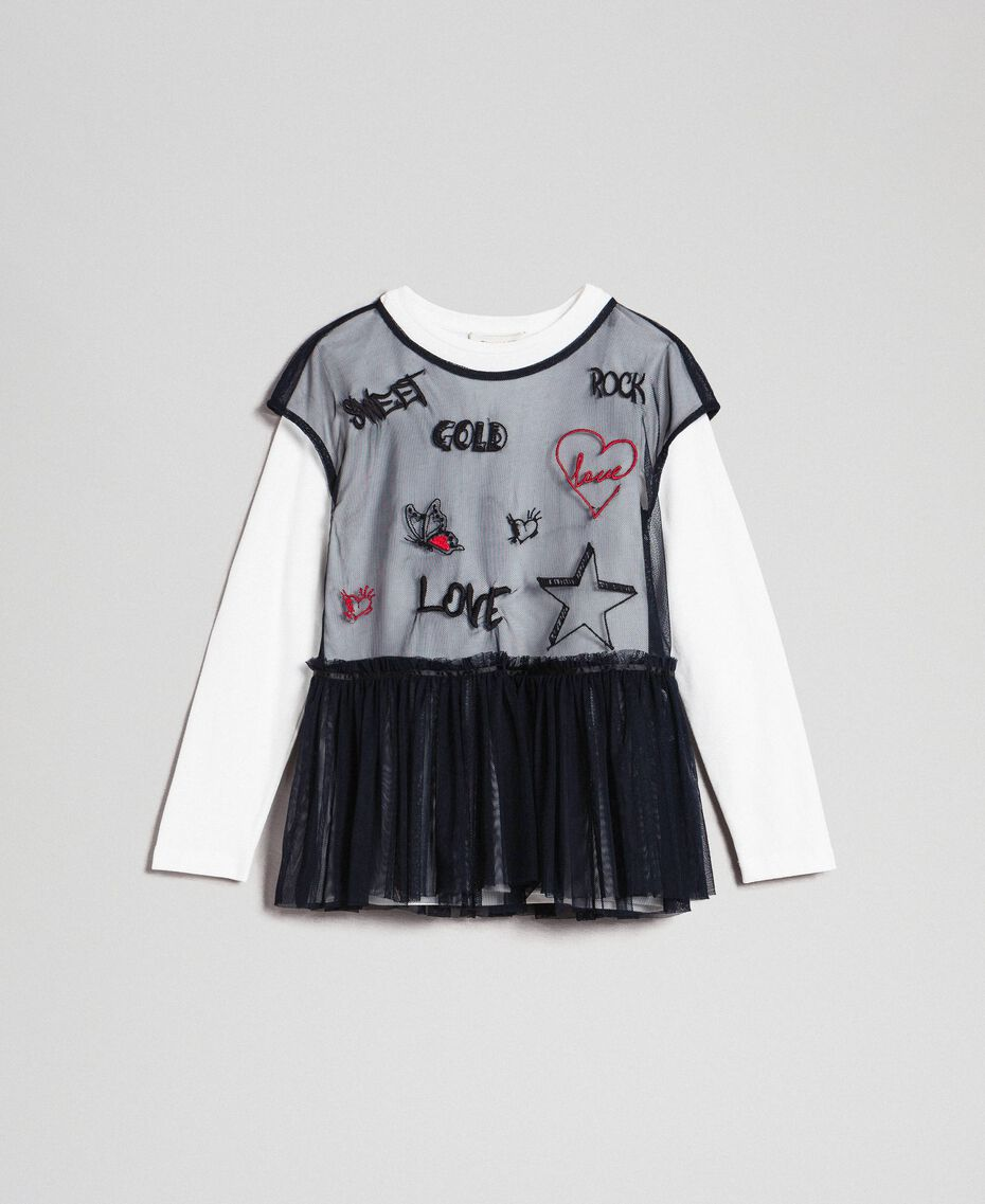 Tulle blouse with embroideries and T-shirt White / Black Child 192GJ2434-0S
