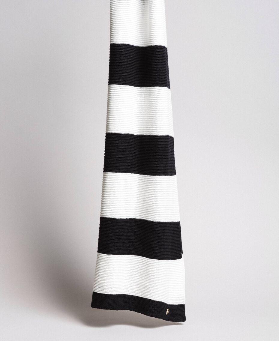 Écharpe jacquard rayée en coton Bicolore Noir / Blanc Femme 191MA4301-02