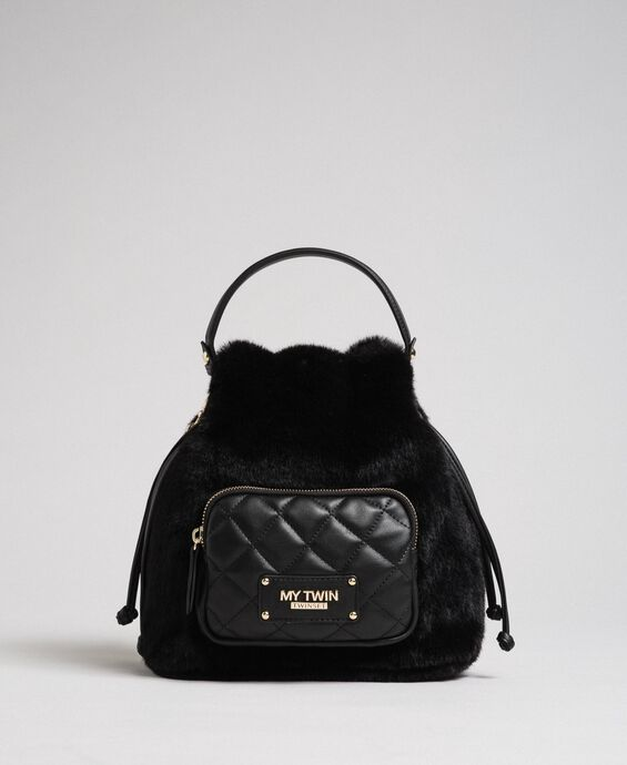 Faux fur bucket bag with shoulder strap