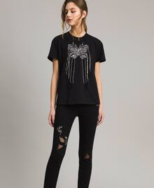 Butterfly embroidery and fringe T-shirt Black Woman 191TP2600-01