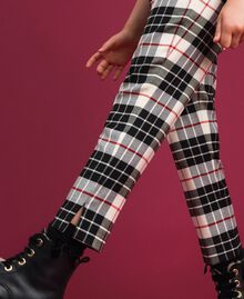 "Wool blend chequered trousers ""Snow"" White Tartan Jacquard Child 192GJ2692-04"