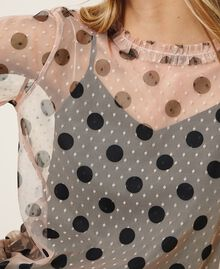 Plumetis tulle blouse with polka dots Nude Beige Polka Dot Print Woman 202ST2062-05