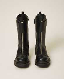 Leather combat boots with strap Black Woman 202TCP180-05