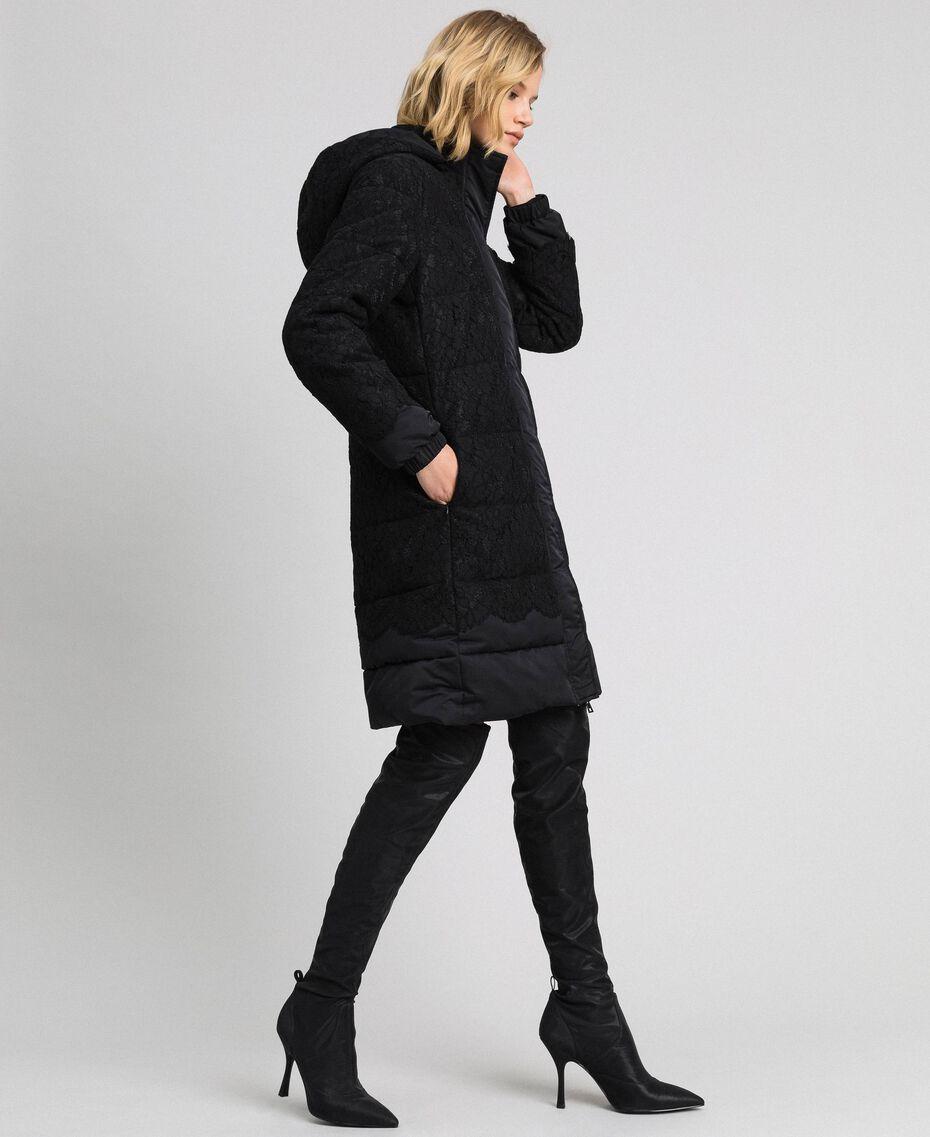 Doudoune avec dentelle et macramé Noir Femme 192TP2130-02