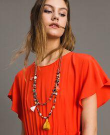 Collier à chaînes multiples avec pendentifs et pompons Multicolore Pierres Femme 191TO534F-0S