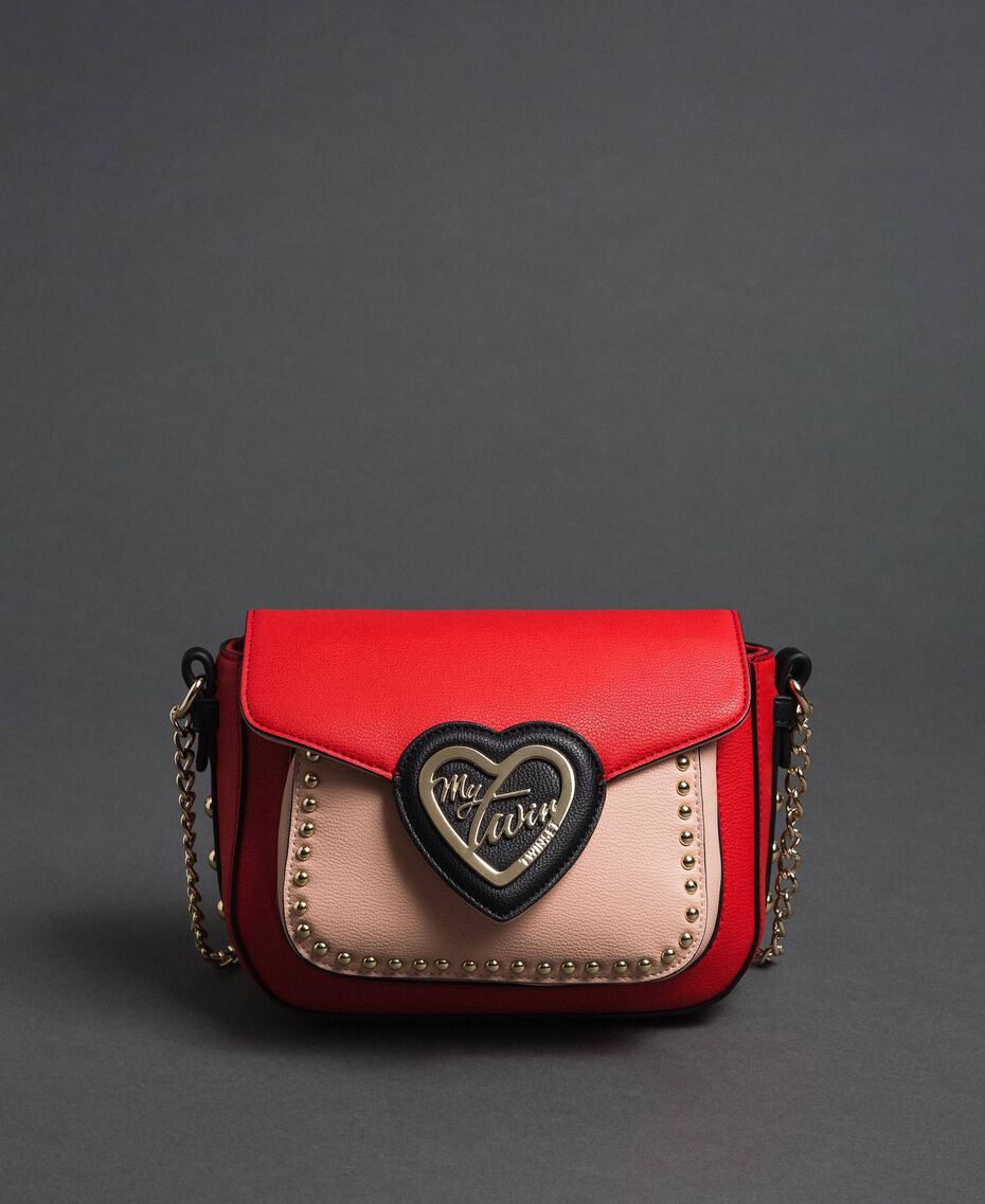Two-tone faux leather shoulder bag with studs Poppy Red / Pale Pink Woman 192MA7103-02