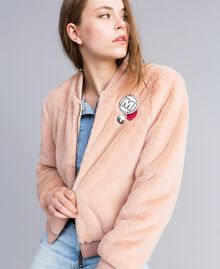 """Faux fur bomber jacket """"Nude"""" Beige Woman JA82KA-01"""