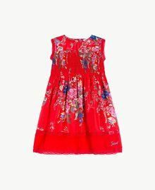 Kleid aus Seide Blumenprint / Granatapfelrot Kind FS82EN-01
