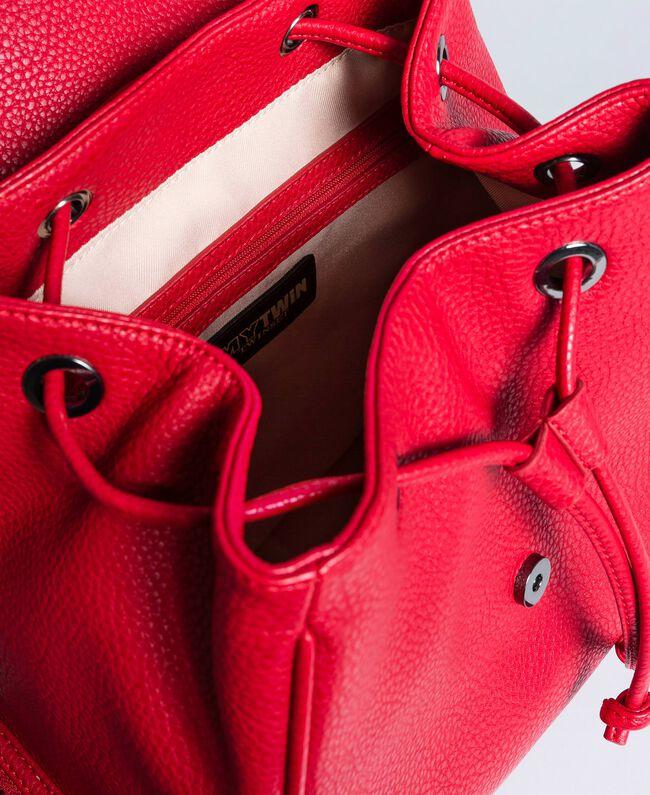 Rucksack aus Lederimitat mit Nieten Rot Mohn Frau VA8PAC-04