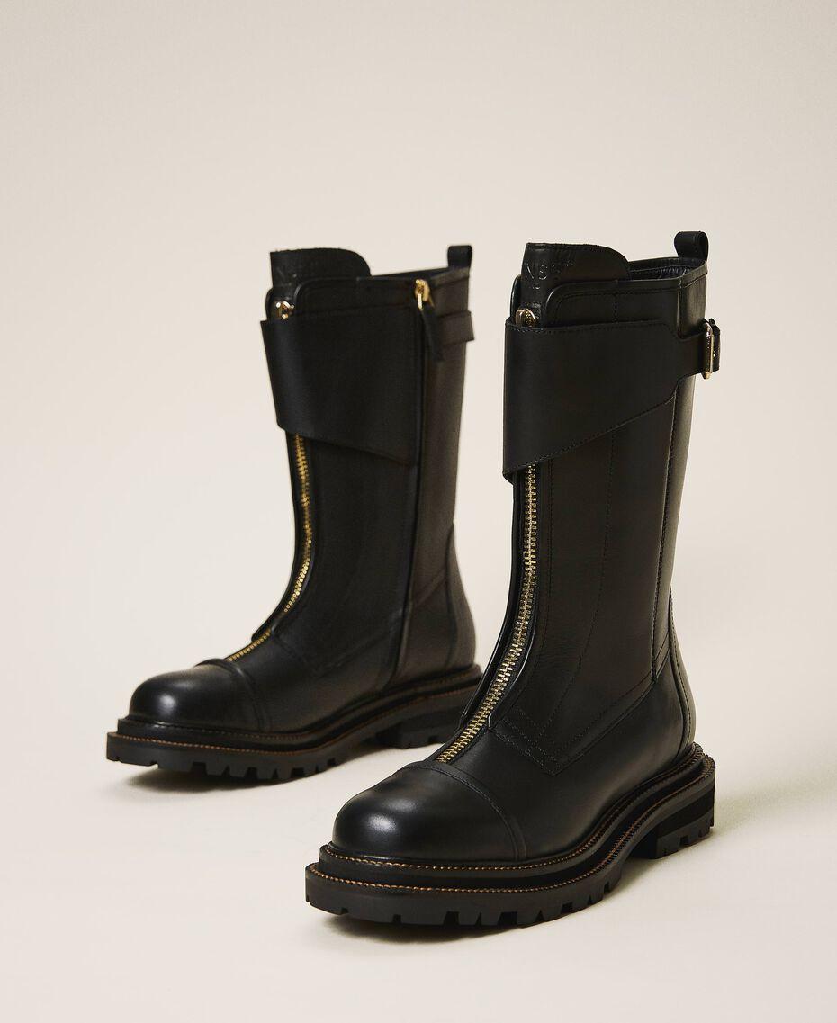 Кожаные ботинки-амфибии с ремешком Черный женщина 202TCP180-01