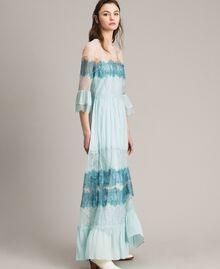 """Robe longue en georgette et dentelle Bicolore Bleu Clair Mikonos / Bleu Clair """"Aigue Marine"""" Femme 191TP2771-02"""