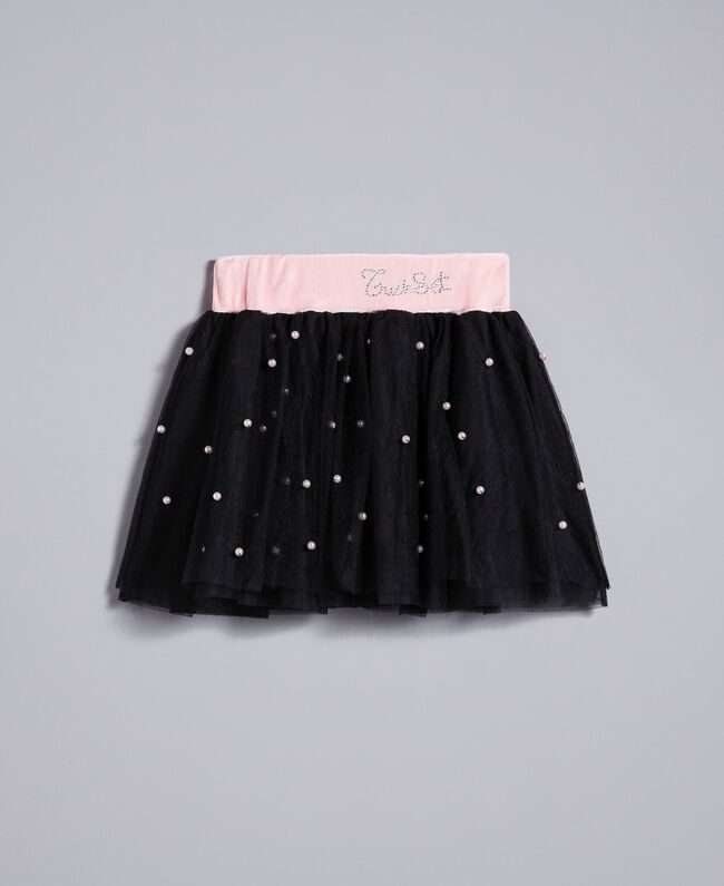 """Tulle skirt with pearls Bicolour """"Blush"""" Pink / Black Child FA82JB-01"""