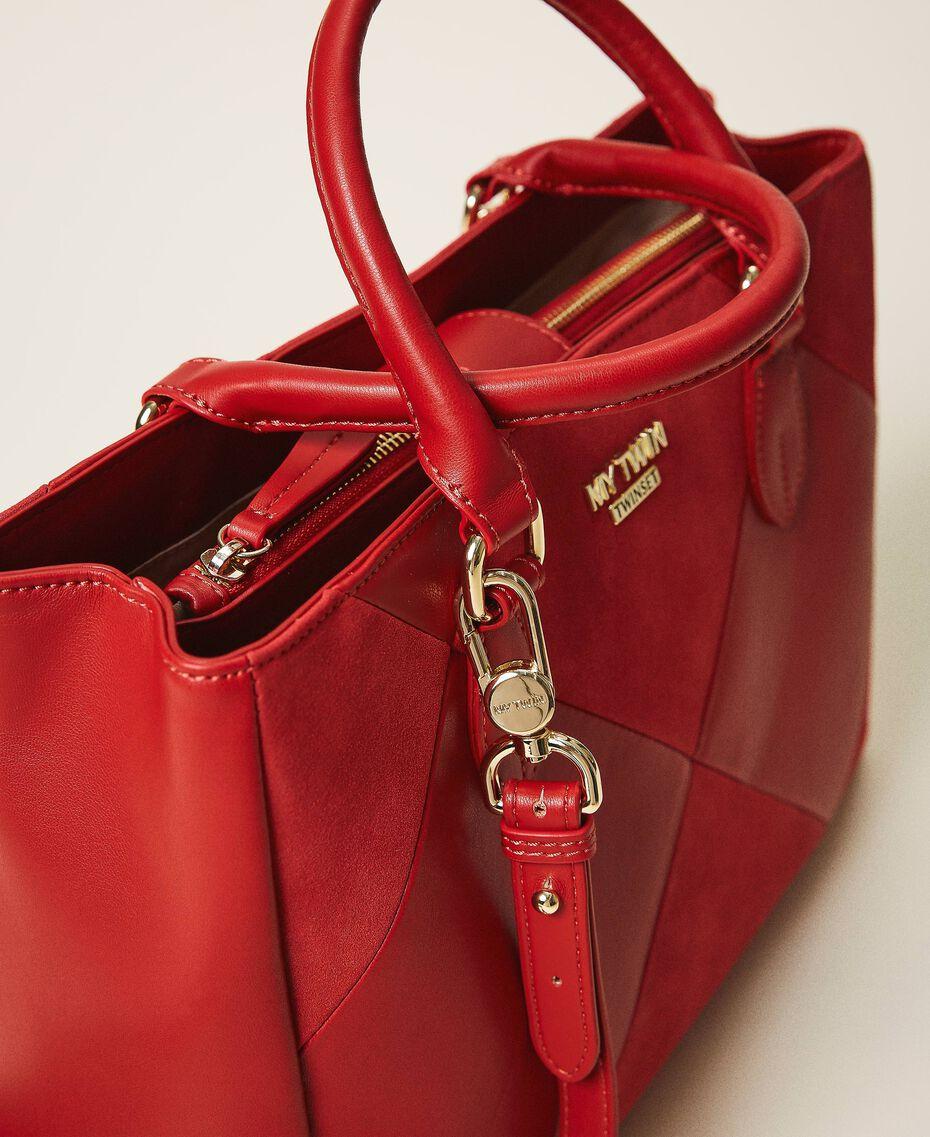 Sac shopping en similicuir Rouge Cerise Femme 202MA7020-01