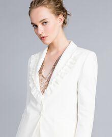 Jacke aus Interlock-Jersey mit Rüschen Weiß Schnee Frau PA821A-03