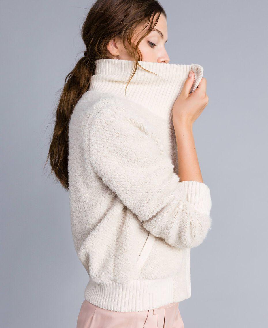 Bomber en laine mélangée bouclée Blanc Femme IA87DD-02