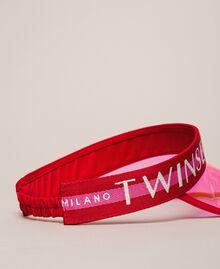 "PVC visor with logo Two-tone ""Geranium"" Red / ""Jazz"" Pink Woman 201TO5404-02"