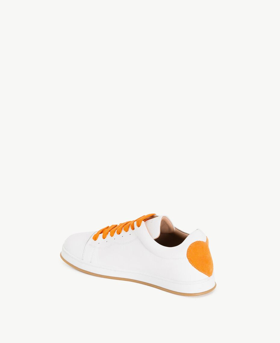 TWINSET Heart sneakers Two-tone Optical White / Orange Woman CS8PJJ-03